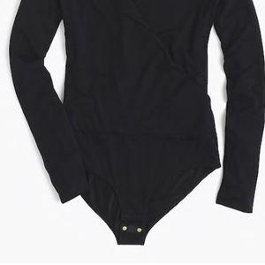 J. Crew Tops - J. Crew Black Wrap Bodysuit